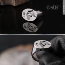 خاتم صورة حفر خاص على الفضة