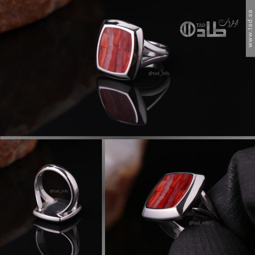 خاتم تفصيل من سن الماموث النادر أحمر (مضغوط ومعالج حرارياً)